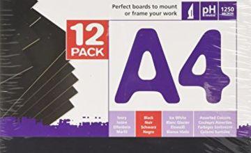 A4 GRADUATE MOUNTBOARD 12 PACK BLACK