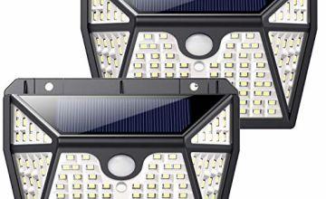QTshine Solar Lights Outdoor 118 LED,【Five-Sided Lighting 2200mAh】Solar Security Lights Motion Sensor Solar Powered Lights Wall Lights Waterproof Solar Lamps 3 Intelligent Modes for Garden (2 Pack)