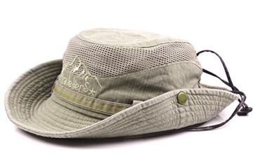 Thenice Unisex Cotton Sun Cap Outdoor Bucket Mesh Boonie Hat (S01-Army Green)