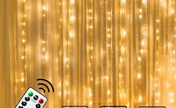 300 LED Curtain Lights, USB Plug in Window Lights, 3m x 3m 8 Modes Remote Control Fairy Light Waterproof LED Copper String Lights for Outdoor Indoor Wedding Party Garden Bedroom Decoration