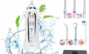 2020 Upgraded Water Flosser for Teeth, Oral Irrigator w Gravity Ball 5 Mode 6 Water Jet 300ML Reservoir Dental Flosser Water Floss USB Rechargeable IPX7 Waterproof FDA Approved, Home/Travel-- Duomishu