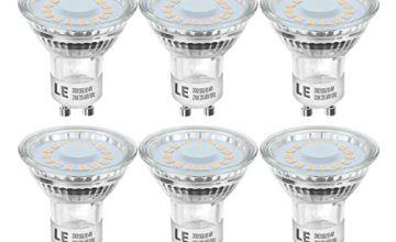 LE GU10 LED Bulbs 4W, 50W Halogen Bulb Equivalent, 350lm LED Light Bulb, Warm White 2700K, 120° Wide Beam Angle, CRI>80, AC 220-240V, Pack of 6
