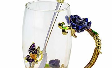 COAWG Enamel Flower Tea Cup Large Glass Mug with Spoon Crystal Clear Glass Cups, Birthday Wedding Anniversary Valentine's Day Christmas Gifts for Women Wife Mum Grandma Teacher Friends