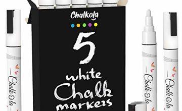 White Chalk Pens - Pack of 3 Markers. Used on Chalkboard, Windows, Blackboard, Labels & Cafe. Water Based Wet Wipe erasable Pen