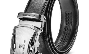 BOSTANTEN Men's Leather Ratchet Dress Belt with Automatic Sliding Buckle Belts