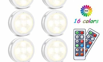 Under Cabinet Lights SOLMORE 6 Pcs LED Cupboard Lighting Night Lights RGBWW Battery Powered Puck Light Timer Dimmable Colorful Party Atmosphere Light for Kitchen Closet Counter Wall Indoor with Remote