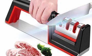Kitchen Knife Sharpener, Knife Sharpening Tool with Anti Slip Bas