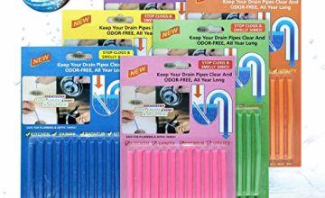 Drain Sticks JOYXEON Drain Cleaner Sticks Deodorizer Enzymatic Drain Cleaning Sticks for Kitchen Sink Bathroom Toilet Sewer, Keeps Drains Pipes Clear 100% Natural Degradation, 72pcs (6 Fragrances)
