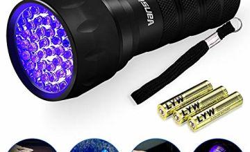 Vansky UV Torch, UV Flashlight Black Light for Pet Urine Detection,21 LED Blacklight Detector for Dog Urine,Pet Stains,Bed Bug on Carpet/Rugs/Floor【3 x AAA Batteries Included】