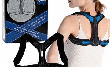 Posture Corrector, Posture brace, Adjustable Back Straightener, Discreet Back Brace for Upper Back Pain Relief for Women & Men - Comfortable Posture Trainer for neck & Posture Support