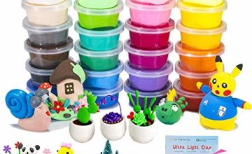 Air Dry Clay, 24 Colors Modelling Clay Ultra Light Polymer Clay Wonderful DIY Creative Educational Magic Clay Best Gift for Children