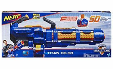 Nerf Elite Titan CS-50 Toy Blaster – Fully Motorised, 50-Dart Drum, 50 Official Nerf Elite Darts, Spinning Barrel – For Children, Teens, Adults