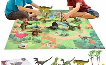 9PCS Large Dinosaur Toys with Activity Play Mat & 2 Trees to Create A Dino World Realistic Dinosaur Figure Playset Including T-Rex, Triceratops, Velociraptor for 3 4 5 6 Years Old Kids Boys and Girls