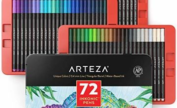 Arteza Inkonic Fineliner Pens, 0.4 mm Tips, Set of 72 Colours, Water-Based, Non-Toxic, Fine Liner Coloured Pens for Drawing Details & Mixed Media Art