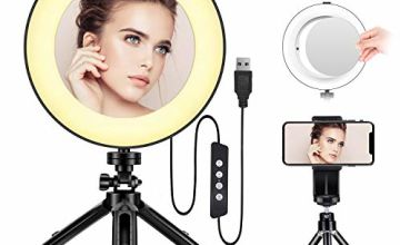 LED Ring Light - Bestope 8 inch Ringlight Make Up Light with Mirror & Tripod Stand & Phone Holder for YouTube Video and Makeup, Dimmable 3 Light Modes and 10 Brightness Level (USB Plug)