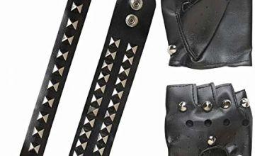 Biker/Rocker Set /Bracelet/Choker Feather Gloves for Fancy Dress Costumes  Accessory