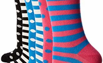 Save on FM London Women's Bamboo Socks, Multicolour (Stripes & Dots Dark 10), One size (Size:UK 4-8 EU 37-42) (pack of 6) and more