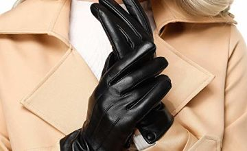 Womens Winter Genuine Leather Gloves - Acdyion New Design Touchscreen Outdoor Windproof Driving Genuine Leather Gloves With Cashmere Lining Gift Packing