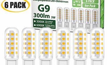 G9 LED Light Bulbs, 3W, 3000K Warm White, 270Lm, 40W Halogen Bulbs Equivalent, Energy Saving LED Lamps, CRI>85, Non Dimmable (Pack of 6) [Energy Class A+]