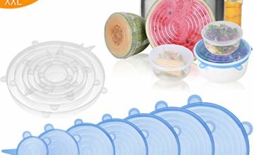 Eono by Amazon - Silicone Stretch Lids, 12/14 Pack Different Sizes Reusable Stretch Covers, Food and Fruit Covers Fit Various Sizes and Shapes of Cups, Bowls, Mugs, Cans, Using in Microwave & Freezer
