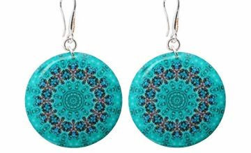 Mandala Turquoise Blue Earrings in a Gift Bag for Women; Elegant Light Green Dangle Jewellery for Resort by Dragon Porter; Design Diameter 1.2inch -3cm
