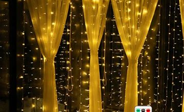 LED Window Curtain String Light, Remote Control, 8 Modes Decorative Lights, 3x3m 300 LED Warm White Fairy Lights, Fairy String Lights, Water Resistant for Christmas Garden Party Wedding Home Decor