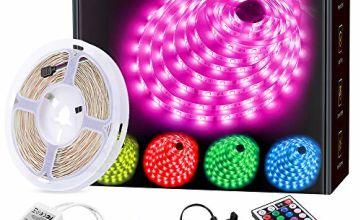 LED Strip Light MINGER 16.4ft(5m) RGB SMD 5050 LED Rope Lighting Color Changing Full Kit with 44-Keys IR Remote Controller LED Lighting Strips for Kitchen Christmas Decoration