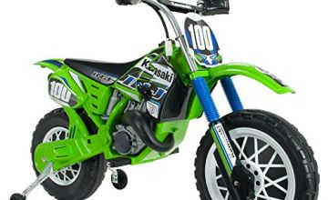 INJUSA - Motorbike Kawasaki 6V Licensed with Rubber Bands on Wheels and Stabilizing Wheels Recommended for Children +3 Years