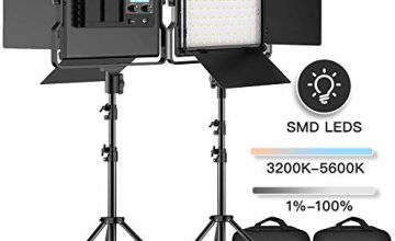 FOSITAN LED Video Light, 2-Pack 3960 Lux Dimmable Photography Lighting Kit with Barndoor for Studio YouTube Interview Outdoor Video Lighting Kit, CRI96+, 3200-5600K, U Bracket, 79 Inches Light Stand