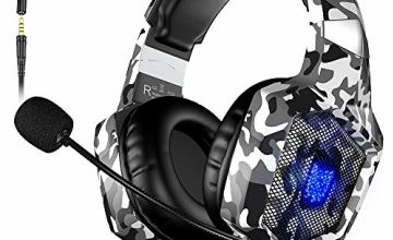 VersionTECH. Xbox one Gaming headset for PS4, Headphones with Microphone Mic LED Light up Noise Cancellation Over Ear Compatible with Playstation 4 PC Nintendo Switch Gamer Laptop Mac (Camouflage)