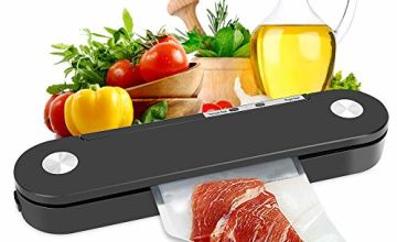Automatic Vacuum Sealer, POWERAXIS Food Saver Vacuum Sealer One-Touch Food Sealer for Dry and Moist Food Fresh Preservation Fresh-keeping in Camping and Home, with 10Pcs Vacuum Bags