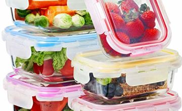Glass Food Storage Containers with Lids - 6-Pack Set (3x1040ML, 3x370ML) - Meal Prep Lunch Boxes - Microwave, Fridge, Freezer, Dishwasher, Oven Safe - BPA-Free - Easy Snap, Airtight and Leakproof Lid