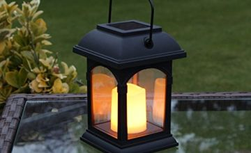 Garden Candle Lantern - Solar Powered - Flickering Effect - Amber LED - 15cm by Festive Lights