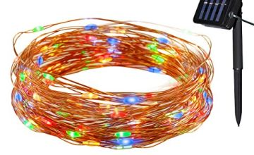 Yasolote Waterproof Copper Wire Fairy Lights, Solar Garden Lights, 32.8ft 12m 100 LED 8 Twinkling Modes