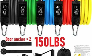 Resistance Bands Set Exercise Bands, Resistance Bands Set Men Home Workouts With 5 Fitness Tubes, 2 Foam Handles, 2 Ankle Straps, 2 Door Anchor, Carrying Pouch-Yoga, Pilates Physio Home Gym Equipment