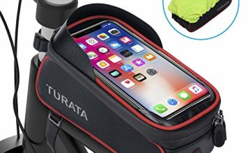 TURATA Bike Frame Bag, Waterproof Bike Pouch Bag, Cycling Front Top Tube Touchscreen Sun Visor Storage Bag with Headphone Hole for iPhone Samsung and other Smartphone Below 6.5 Inch (Red)