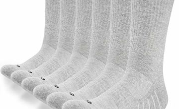 Anqier 6 Pairs Cotton Crew Socks (Size3-15) Cushion Running Mens Socks Training Walking Workout Work Sports Socks for Men and Women