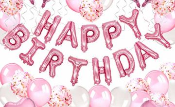 MMTX Birthday Party Decorations Supplies, 51 Pack Party Favors with Happy Birthday Banner, Helium Foil Heart Balloon, 30pcs Latex Ballons for Girls Birthday, Wedding, Baby Shower, Parties Decorations