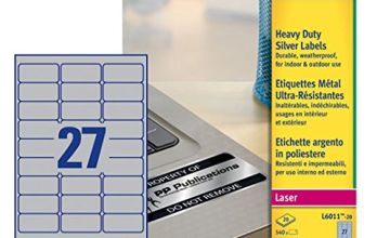 Avery L6011-20 ( 63.5 x 29.6mm) Extra-Strong Adhesive Silver Heavy Duty Labels, 27 Labels Per A4 Sheet