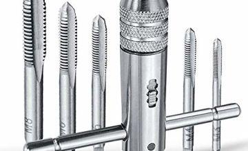 T-Handle Ratchet Tap Wrench, 4EVERHOPE 7pcs M3-M8 HSS Revers