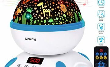 Moredig Baby Projector, 360 Degree Rotating Musical Night Light with Remote Control and Timer, Built-in 12 Songs and 8 Color Modes for Kids Bedroom - Blue White