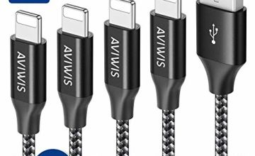 Phone Charger Cable AVIWIS [4-Pack 0.3M 1M 2M 3M] Nylon Braided Phone Charger USB Fast Charging Cable Lead Compatible with Phone 11 8 7 6