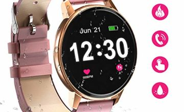 Bluetooth Smartwatch for Women,IP68 Waterproof with 1.3 Inch Full Touch Screen, Heart Rate Monitor, Sleep Monitor, Activity Tracker Pedometer SMS Call Notification smart watch for Android & iOS (pink)