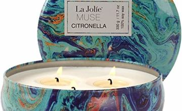 Citronella Candle - Scented Candle 330g Large 100% Soy Wax, for Indoor Outdoor Garden Camping 3 Wicks
