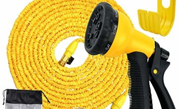 Avyvi 100ft Expandable Garden Hose Pipe/Flexible Lightweight Water Hose With Brass Fittings/8 Modes Spray Gun/Hose Holder And Storage Bag Yellow