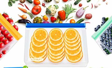 CISHANJIA Reusable Sandwich Bags,BPA Free Stand-up Reusable Food Storage Bags Ziplock Snack Lunch Bags Freezer Bags Food Bags for Lunch, Travel and Kitchen Organization