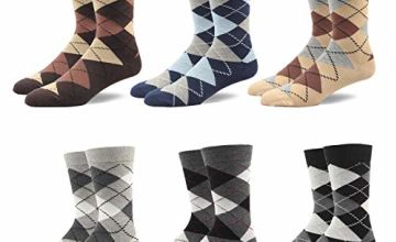 Gift Box Men's Argyle Socks 90% Cotton Rich Business Casual Mid Calf Designer Pattern Funny style Colorful