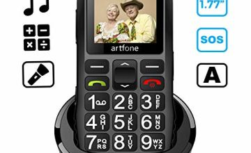 Big Button Mobile Phone for Elderly, artfone C1+ Dual SIM Unlocked, 1400mAh Battery, Unlocked Senior Mobile Phone with SOS Emergency Button, Charging Dock (Black)