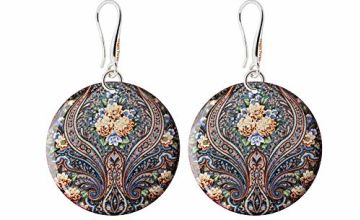 Artisic Flower Brown Beige-Ivory Earrings Special Gifts for Women; Traditional Multicoloured Dangle Accessories for Birthday; Design Diameter 1.2inch -3cm