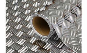 d-c-fix® Sticky Back Plastic (self adhesive vinyl film) Metallic Chequered Plate High Gloss Silver 45cm x 1.5m 340-0060
